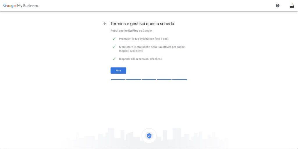 Conferma scheda Google My Business